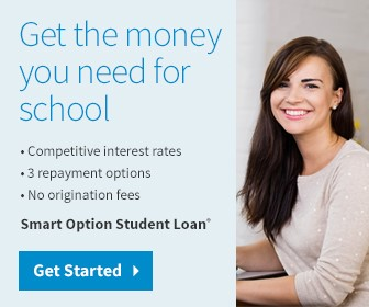 Get the money your need for school. Competitive interest rates. 3 repayment options. no origination fees. Smart option student loans. Get started button to take you to the SallieMae Website.